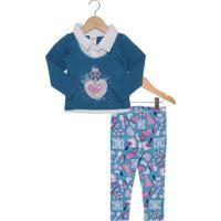 Conjunto Elian Beleza Hotfix Infantil Azul/Rosa