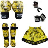 Kit Muay Thai Top - Luva Bandagem Bucal Caneleira Shorts - Grafite 14 Oz