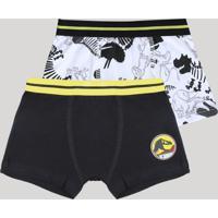 Kit De 2 Cuecas Boxer Infantis Dinossauro Multicor