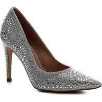 Scarpin Shoestock Bride Salto Alto Cristais - Feminino-Prata