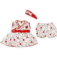 Vestido Bebê Flamengo Com Shorts E Tiara Oficial