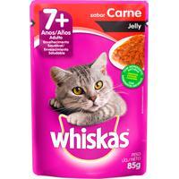 Ração Para Gatos Whiskas Jelly Adulto 7+ Anos Sachê Sabor Carne Com 85G