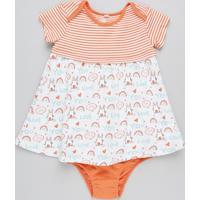 Vestido Infantil Estampado Com Recorte Manga Curta + Calcinha Laranja