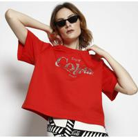 Blusa Coca-Cola ® Em Moletom- Vermelha & Prateada- Ccoca-Cola