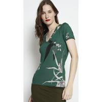 Blusa Canelada Com Tag- Verde & Preta- Forumforum