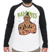 El Cabriton  Ramones 74 - Camiseta Raglan Manga Longa Masculina 6b9630e9c389f