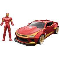 Carrinho E Figura Die-Cast -1:24 - Metals - Disney - Marvel - Iron-Man - Chevy Camaro - Dtc