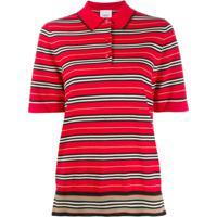70f9a95c73 Farfetch  Burberry Blusa Polo Listrada - Vermelho