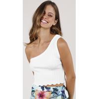 Blusa Feminina Blueman Um Ombro Só Cropped Em Tricô Off White