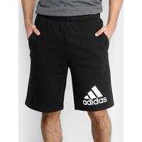 Bermuda Moletom Adidas Knit Masculino - Masculino-Preto+Branco