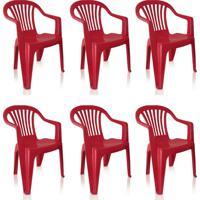 Conjunto Com 6 Cadeiras Plásticas Vila Boa Vista Vinho