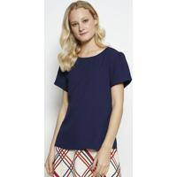 Blusa Lisa Com Recortes- Azul Marinho- Milioremiliore
