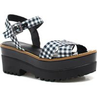 Sandália Plataforma Zariff Shoes Xadrez Preto