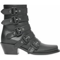 Burberry Ankle Boot De Couro Com Fivela - Preto