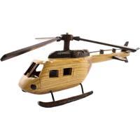 Enfeite Madeira Minas De Presentes Helicóptero Bege