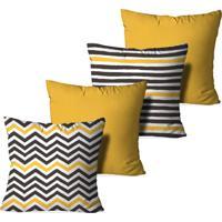 Kit 4 Capas Love Decor Para Almofadas Decorativas Abstrato Stripes Multicolorido Amarelo