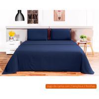 Jogo De Cama King Size Loft Azul Marinho 260X280 Cm
