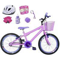 Bicicleta Infantil Aro 20 + Kit Roda Aero + Capacete + Kit Proteção - Feminino