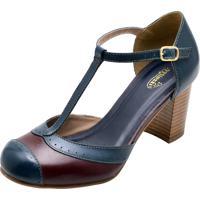 Sapato De Couro Miuzze Azul Marinho
