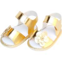 Sandália Flor Sapatinhos Baby Dourada