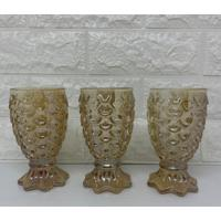 Jogo De Três Taças De Vidro Abacaxi Na Cor Âmbar Com Brilho - Tricae