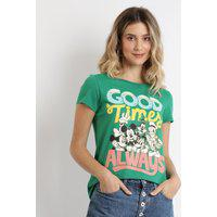 Blusa Feminina Turma Do Mickey Manga Curta Verde