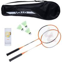 Kit Badminton Vollo Sports Vb002 Com 2 Raquetes, 3 Petecas E Raqueteira - Laranja/Preto