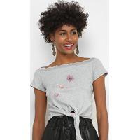 Blusa Lily Fashion Com Aplicação Feminina - Feminino-Cinza