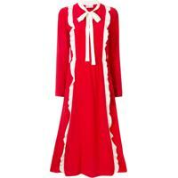 Red Valentino Vestido Midi Com Babados E Contraste - Vermelho