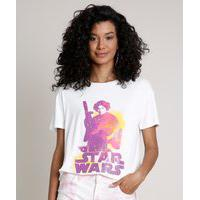 Blusa Feminina Ampla Princesa Leia Star Wars Manga Curta Decote Redondo Off White