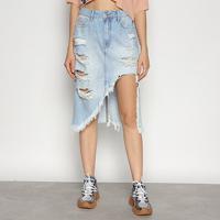 Saia Jeans Triton Midi - Feminino-Azul