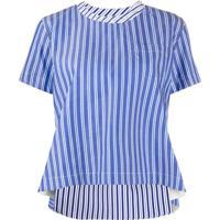 Sacai Blusa Assimétrica De Algodão Com Listras - Azul