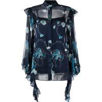 Alberta Ferretti Camisa Floral Com Mangas Drapeadas - Azul