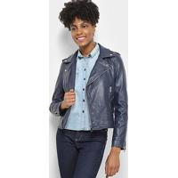Jaqueta C & V Collection Biker Feminina - Feminino-Azul