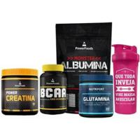 Kit Monster Albumina500G +Bcaa120Cáps + Creatina300G + Glutamina300G E Coq 700Ml Powerfoods - Unissex