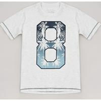 "Camiseta Infantil ""8"" Tropical Manga Curta Cinza Mescla Claro"