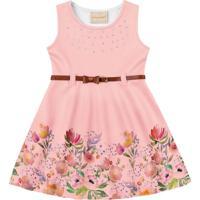 Vestido Bebê Flores E Strass Rosa - Fakini