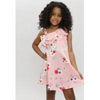 Vestido Infantil Um Ombro Só Estampado Floral Com Babado Coral