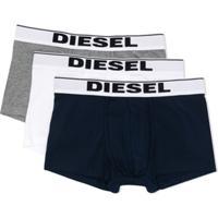 Diesel Kids Conjunto 3 Cuecas Boxer Com Logo No Cós - Cinza