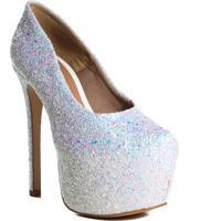 Sapato Meia Pata Feminino Salto Alto Zariff Com Brilho Branco