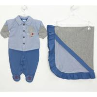 Saída De Maternidade Camisa Em Tricoline - Masculino-Azul