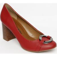Sapato Tradicional Com Fivela- Vermelho- Salto: 7,5Cmorena Rosa