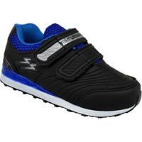 Tênis Mizzuminho Velcros Infantil - Masculino-Preto+Azul