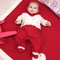 Saída De Maternidade Fofinho Malha Coração Heloísa Vermelho