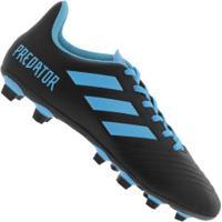 Chuteira De Campo Adidas Predator 19.4 Fxg - Adulto - Preto/Azul Cla