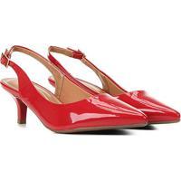Scarpin Vizzano Salto Baixo Bico Fino Chanel - Feminino-Vermelho