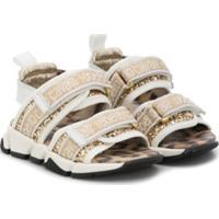 Roberto Cavalli Junior Sandália Com Paetês E Estampa De Logo - Dourado