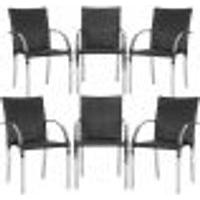 Cadeiras 6Un Para Area Varanda Fibra Sintetica Sala Cozinha Jardim Sacada Madri - Preto