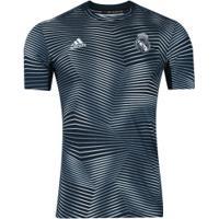 Camisa Pré-Jogo Real Madrid 18/19 Adidas - Masculina - Cinza Escuro/Branco