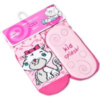 Meia Kidsplash! Bebê Antiderrapante Mimi Cat Rosa